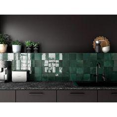 Bedrosians Cloe 5 x 5 Ceramic Mosaic Tile in Green Interior Modern, Home Interior, Decor Interior Design, Interior Decorating, Interior Ideas, Design Bedroom, Interior Paint, Interior Lighting, Home Design