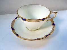 1891-1920 Coalport Tea Cup Saucer Cobalt Gold Feather Gilt Embossed Hand Decorated Christmas Anniversary Birthday Collector Gift by ColorfullGifts on Etsy