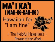 The Helpful Hawaiian's Phrase of the Week: Ma'i Ka'i