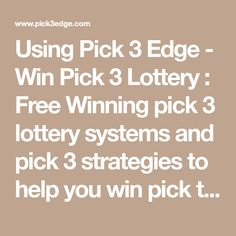24 Best Pick 3 Strategies images in 2019 | Pick 3, Lottery