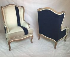 SOLD – Pair of Custom Striped Wing Back Chairs with Navy Linen Organic Bamboo Be… - Einrichtungsideen Chair Makeover, Furniture Makeover, Home Furniture, Furniture Design, Luxury Furniture, Reupholster Furniture, Upholstered Furniture, Painted Furniture, Sillas Wingback