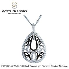 This 14K White Gold Black Enamel and Diamond Pendant Necklace is sure to draw attention. This #pear shaped #pendant has a #swirling design accented by black #enamel and #diamonds and is perfect for your next special occasion. Visit your local #GottliebandSons retailer and ask for style number 29337B.