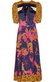 Roksanda Masek fluted striped silk-satin and  floral-print silk crepe de chine midi dress