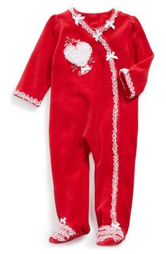 Little+Me+'My+First+Christmas'+Velour+One-Piece+(Baby+Girls)+available+at+#Nordstrom
