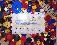 RESERVED ~ CUSTOM ONLY Button Frame in Primary Colors ~ Customized Frame ~ Personalized Frame ~ Gift for Boy ~ Nursery Decor ~ for 4x6 Photo