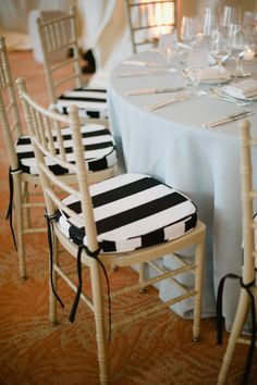 Black and White Striped Chair Cushions: absolutely divine! Decoration Inspiration, Wedding Inspiration, Wedding Ideas, Wedding Stuff, Design Inspiration, Nightmare Before Christmas, Beetlejuice Wedding, Black White Stripes, Black And White