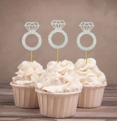 Engagement Ring Cupcake Toppers, Hen Party, Diamond Ring, Silver Polka Dot Sky – Wedding Cakes With Cupcakes Bridal Shower Cupcakes, Wedding Cakes With Cupcakes, Cupcake Party, Wedding Cake Toppers, Bachelorette Party Cupcakes, Hens Party Cupcakes, Hen Party Cakes, Cupcake Wedding, Bachelorette Parties