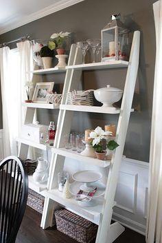 Alternative use for leaning ladder bookshelves