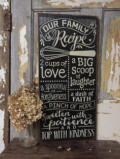 12x24 rustic wood family recipe sign canadian by PrimPickinsCanada