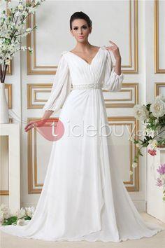 Glamorous Empire V-neck Court Train 3/4-Length Sleeves Taline's Wedding Dress : Tidebuy.com