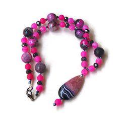 Fuchsia Pink Black Pendant Necklace Semi Precious by ALFAdesigns