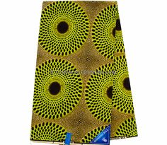 WP734 - African Print Fabric- record, green/orange 6 yards