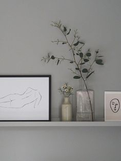 Grey shelf with Desenio figurative print and greenery. Getting the guest bedroom Neutral Bedroom Decor, Gray Bedroom, Bedroom Wall, Bedroom Ideas, Grey Wall Decor, Bedroom Loft, Mosslanda Picture Ledge, Ikea Picture Ledge, Picture Ledge Bedroom