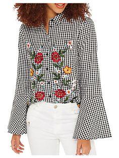 Miss Selfridge Gingham Flute-Sleeve Cotton Button-Down Shirt