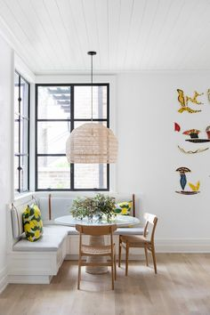 Brew some coffee and settle into one of those cozy kitchen breakfast nooks. Kitchen Banquette, Kitchen Nook, Corner Dining Nook, Corner Banquette, Kitchen Ideas, Banquette Seating In Kitchen, Nook Table, Bar Kitchen, Kitchen Island