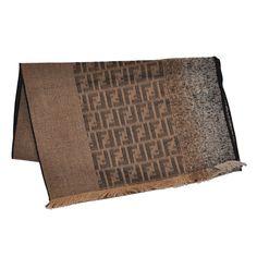 5f6b8bb9a408 Fendi Wool Scarf Brown Gray FF Design Shawl from Como Milano