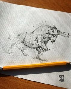 Bull Sketch Psdelux by psdeluxe on DeviantArt Animal Sketches, Animal Drawings, Drawing Sketches, Pencil Drawings, Sketching, Tattoo Drawings, Cool Drawings, Body Art Tattoos, Sketch Tattoo