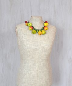Sweet necklace with artificial fruits Apples pears by Rozamina