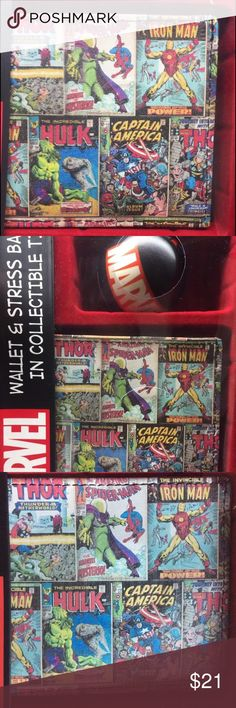 Marvel Comics :SM/Hulk/Iron-M Wallet & Stress Ball NEW - SEALED Wallet and Stress Ball with  CollectableTin, IRON MAN/THOR/SPIDER MAN/CAPTAIN AMERICA/ HULK Marvel Bags Wallets