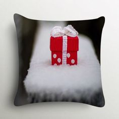 Stybuzz Cute Christmas Gift In Snow Cushion Cover #XmasWithFabFurnish #gift #Christmas #polkadots
