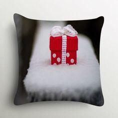 Stybuzz Cute Christmas Gift In Snow Cushion Cover #XmasWithFabFurnish #gift #Christmas #polkadots