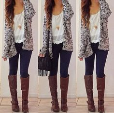 Cute outfit! Knee high boots, white top with lace at the bottom, knitted cardigan, jeans and a necklace