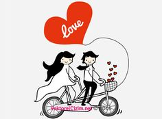 Vektörel Çizim | Sevgililer ve Bisiklet