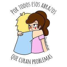 Curemos el mundo con abrazos ✨ . . . . #ilustragram #ilustracion #viñeta #pelaeldiente #chicadelosrulos #wacom #abrazos #comic #viñetas