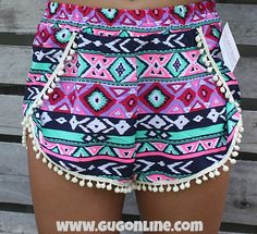 Sippin on Fire Aztec Shorts with Pom Pom Trim in Pink and Turquoise $24.95 www.gugonline.com Trendy Outfits, Cool Outfits, Summer Outfits, Aztec Shorts, Pom Pom Shorts, Giddy Up Glamour, What A Girl Wants, Crop Top And Shorts, Pom Pom Trim