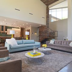 Houzz | Gray Orange Blue Family Room Design Ideas & Remodel Pictures