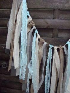 5 ft Rustic aqua blue garland, burlap garland, Wedding prop, home decor, rag bunting, fabric banner, shabby shic garland, aqua lace strips