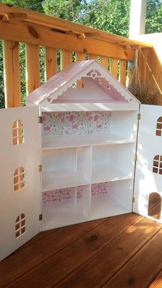 Dollhouse with Light and Doors Open, Dolls house with lights , Wooden dollhouse, Plywood house, Doll Dollhouse Bookcase, Wooden Dollhouse, Girls Dollhouse, Dollhouse Kits, Mini Doll House, Barbie Doll House, Doll Furniture, Dollhouse Furniture, Plywood House
