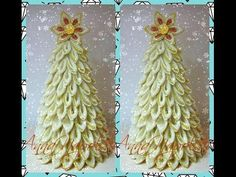 Новорічна ялинка канзаши. Новогодняя елочка своими руками. The Christmas tree kanzashi - YouTube