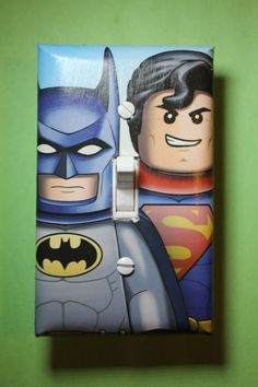 Lego Batman and Superman superhero Light Switch Plate Cover comic book room kids boys girls room home decor bedroom by ComicRecycled on Etsy