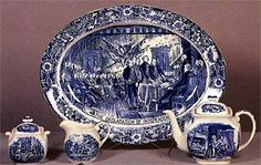Over a quarter century has passed since the first Liberty Blue Staffordshire was made, many people have become interested in collecting this patriotic and Blue And White China, Blue China, Love Blue, Vintage Dishes, Vintage China, Antique Dishes, Antique China, Blue And White Dinnerware, Blue Dinnerware