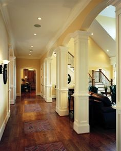 Columns. Keep the hallway from dinginess and give the living room ...