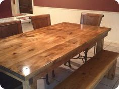 Handmade custom furniture - 6ft table with jointed top in vintage early american stain