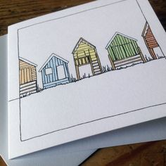 Professionally printed set of four notecards left blank inside for you to write your own greeting. x cards with envelopes. Line Doodles, Paint Cards, Postcard Design, Small Art, Bullet Journal Inspiration, Note Cards, Seaside, How To Draw Hands, Art Pieces