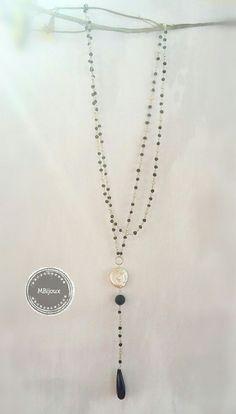 Collana rosario bianca e nera, agata nera e madreperla