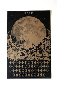 2018 Lunar Calendar Poster Wall Calendar Moon Phase Moon