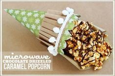 Microwave Chocolate Drizzled Caramel Popcorn