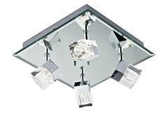 67 best bathroom lighting at lighting bug swindon images on 4 light on square platein mirror chrome bevelled mirror ceiling and back plate crystal glass shades polished chrome accents f marked double insulated aloadofball Gallery
