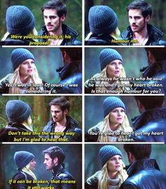 """If it can be broken, that means it still works"" best Hook quote of the season. Hook and Emma are so cute."