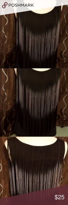 Cache Black and Fringed Tank (EUC) Black Tank overlayed with black/grey fringe Fringe is on front and back Only worn once Cache Tops Tank Tops