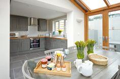 Shaker Kitchen Design Ideas, Kitchen Photos, Makeovers and Decor Grey Kitchen Cabinets, Kitchen Cabinet Design, Kitchen Flooring, Grey Cupboards, Kitchen Units, Open Plan Kitchen, New Kitchen, Kitchen Dining, Dining Area