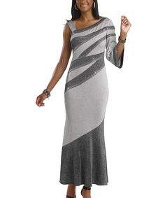 This Donna Vinci Knits Silver & Gray Embellished Asymmetrical Gown - Women by Donna Vinci Knits is perfect! #zulilyfinds
