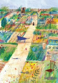Laura Hughes - illustrator It's freezing outside so what better than a lovely spring/summer scene to warm your chilly bones, eh? Painting this allotment made me yearn for a little garden as well as some sunshine.