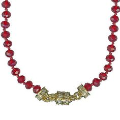 NEW KIRKS FOLLY TIMELESS CRYSTAL  BEAD MAGNETIC NECKLACE  GT/LIGHT RUBY RED