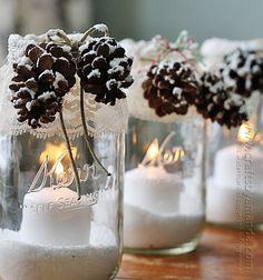Snowy Pinecone Candle Jar Luminaries @Amanda Formaro Crafts by Amanda