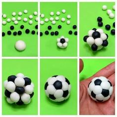 Soccer ball cake pops made with little balls of black and white fondant Fondant Toppers, Fondant Cakes, Cupcake Cakes, Car Cakes, Cake Icing, Cake Decorating Techniques, Cake Decorating Tutorials, Decorating Cakes, Decorating Ideas